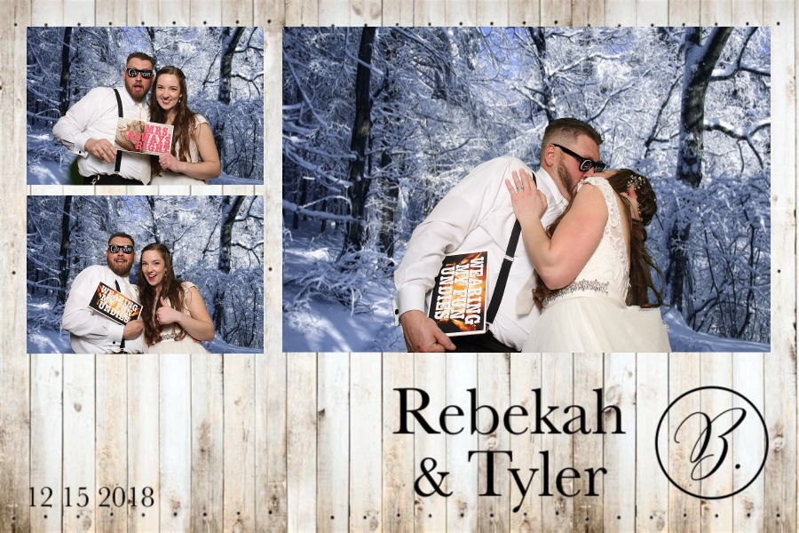 Rebekah and Tyler spicing up the photo booth