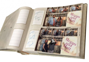 Wedding guest book, personalized guest messages all together in one memorable photo scrap book.